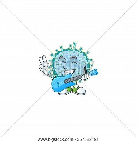 Supper Talented Coronavirus Illness Cartoon Design With A Guitar