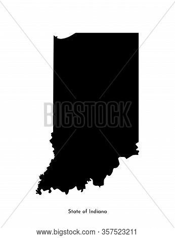 Vector Isolated Simplified Illustration Icon With Black Map Silhouette Of State Of Indiana (usa). Wh