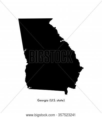 Vector Isolated Simplified Illustration Icon With Black Map Silhouette Of State Of Georgia (usa). Wh