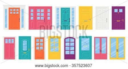 Front Door. Vector. Set House Doors In Flat Design Isolated On White Background. Cartoon Illustratio