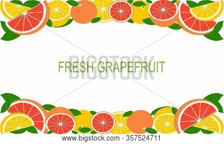 Vector Fresh Grapefruit Template Suitable For Banners, Magazines, Websites, Restaurants And Menus. H