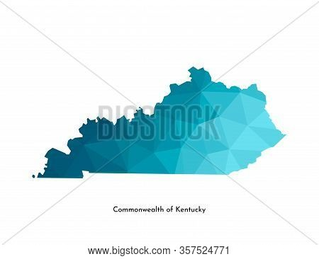 Vector Isolated Illustration Icon With Simplified Blue Map Silhouette Of Commonwealth Of Kentucky (u