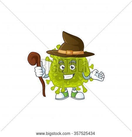 Sweet And Tricky Witch Coronavirus Spread Cartoon Character