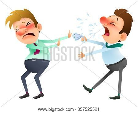 Funny Cartoon Sick Man Sneezing And Coughs On A Healthy Man. Vector Illustration .