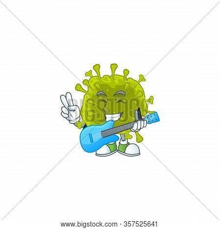 Supper Talented Coronavirus Spread Cartoon Design With A Guitar