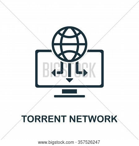 Torrent Network Icon From Banned Internet Collection. Simple Line Torrent Network Icon For Templates
