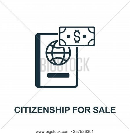 Citizenship For Sale Icon From Banned Internet Collection. Simple Line Citizenship For Sale Icon For