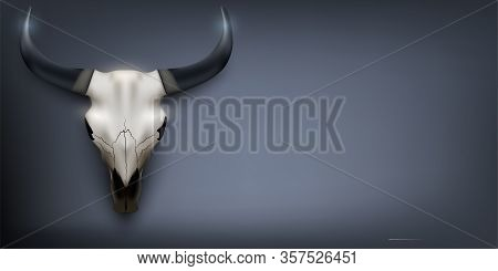 Bull Skull Banner. Bull Head On Dark Background. Poster With Cow Skull. Vector Illustration Backgrou