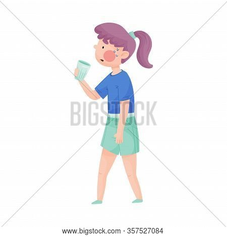 Young Girl Holding Glass Of Cool Water And Drinking Vector Illustration