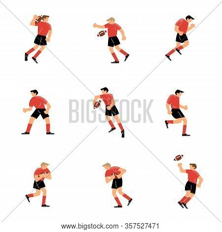 Set Of Rugby Team Player Characters In Different Action Poses. Vector Illustration In Flat Cartoon S