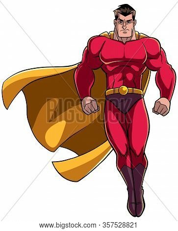 Full Length Illustration Of Powerful Superhero Looking Down While Soaring On White Background.