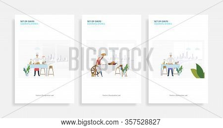 Set Of Chefs Cooking Dishes. Flat Vector Illustrations Of Cooking Festive Dinner, Turkey, Pumpkins.