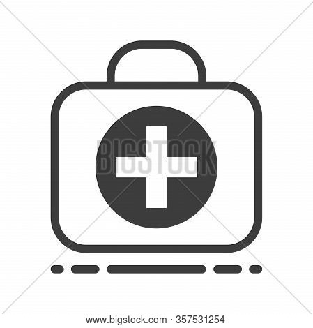 First Aid Kit Case. Line Art Flat Design On White. Medicine, Emergency, Doctor, Healthcare, Rescue,