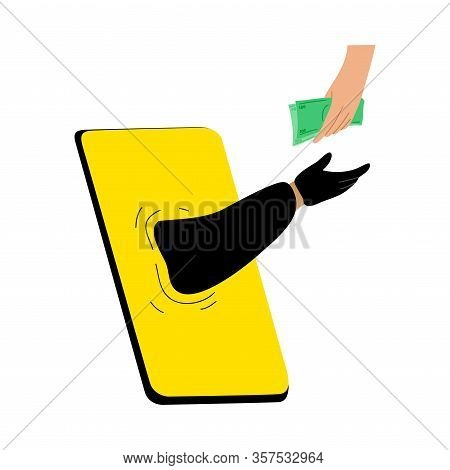 Cyber Hackers Thieves Hand Stealing Money From A Users Hand Online. Vector Illustration In Flat Cart