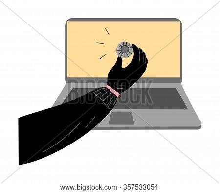 Cyber Hackers Thieves Hand Stealing User Information From The Laptop. Vector Illustration In Flat Ca