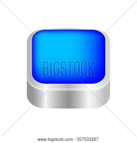 Button Square Shape Blue For Buttons Games Play Isolated On White, Blue Modern 3d Buttons Simple And