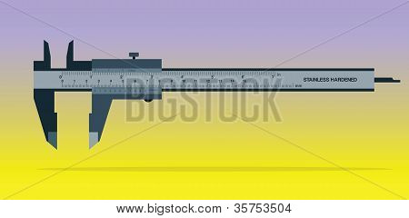 Vernier Caliper Tool Isolated On Color Background