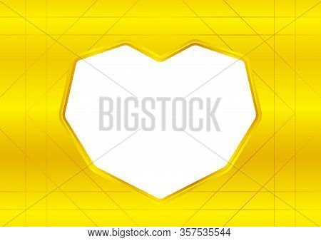 Hearts Shape White On Gold Background, White Frame Shaped Heart On Golden Texture For Greeting Card