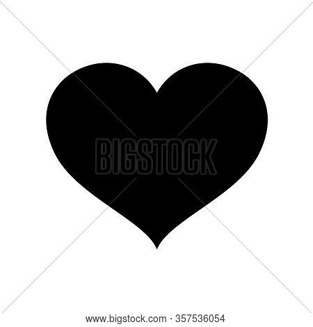 Heart Shape Black Isolated On White Background, Heart-shaped Flat Icon Symbol, Black Heart Shape For