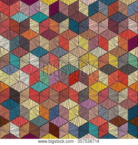 Embroidered Patchwork Seamless Pattern. Bohemian Print For Textiles. Geometric Ornament Of Colored H