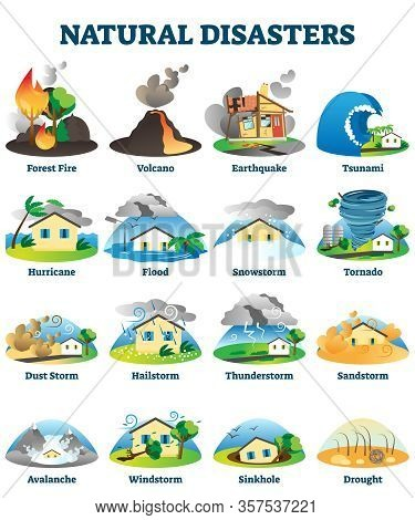 Natural Disasters Vector Illustration. Labeled Danger Weather Collection. Environment Catastrophe An
