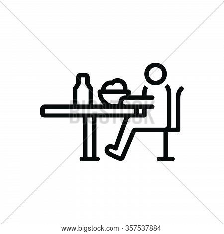 Black Line Icon For Depending Self-depend Dining-table Meal Eat Bottle Table