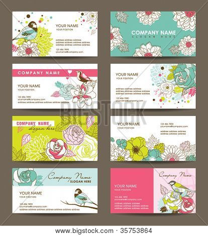 name card templates with floral theme