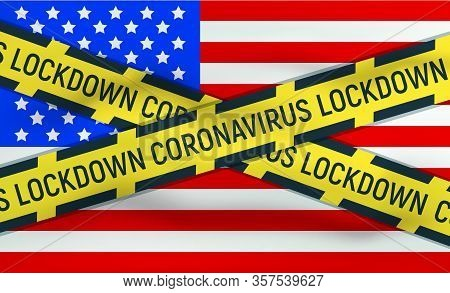 United States, Usa Flag Icon And Logo, Coronovirus Lockdown, Covid 19, World Epidemic, Pandemic. Nat