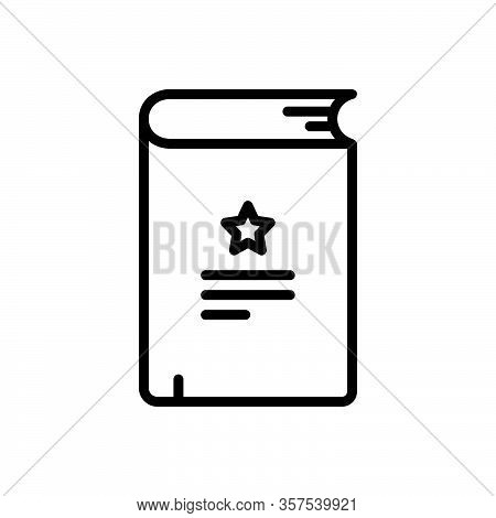 Black Line Icon For Novel Diary Publish Bestseller Narrative Fiction Tale Saga Famous Myth Knowledge