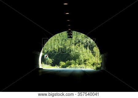 The A Car Road Tunnel In Dark