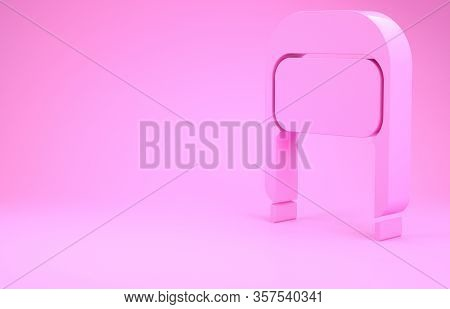 Pink Winter Hat With Ear Flaps Icon Isolated On Pink Background. Minimalism Concept. 3d Illustration