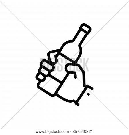 Black Line Icon For Drunkard Hold Sop Catch Grip Clasp Bottle