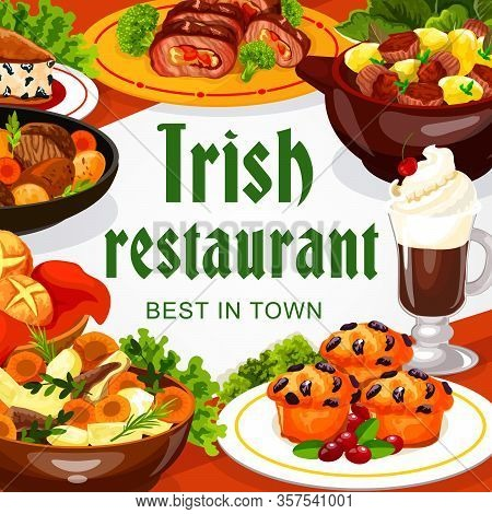 Irish Cuisine Restaurant Food Of Meat And Vegetable Dishes With Dessert And Coffee. Vector Irish Ste