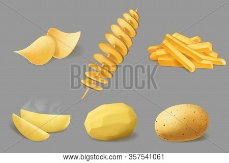 Potato Vegetable Food Realistic Design Of Vector Potato Chips, French Fries And Fried Tornado Swirls