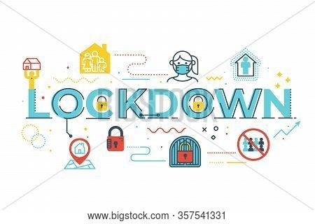 Lockdown Word Lettering Illustration With Icons For Web Banner, Flyer, Landing Page, Presentation, B