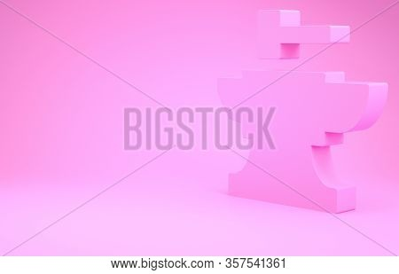 Pink Anvil For Blacksmithing And Hammer Icon Isolated On Pink Background. Metal Forging. Forge Tool.