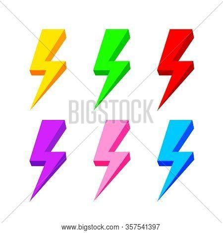 Thunder Icon Colorful Isolated On White Background, Thunder Storm Symbol Set, Clip Art Thunder Colle