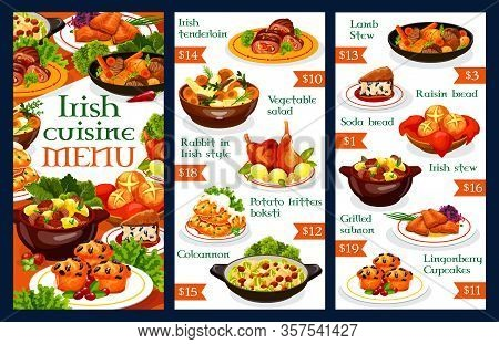 Irish Restaurant Menu Template. Vector Dishes Of Vegetable Meat Stews, Potato Pancakes, Grilled Salm