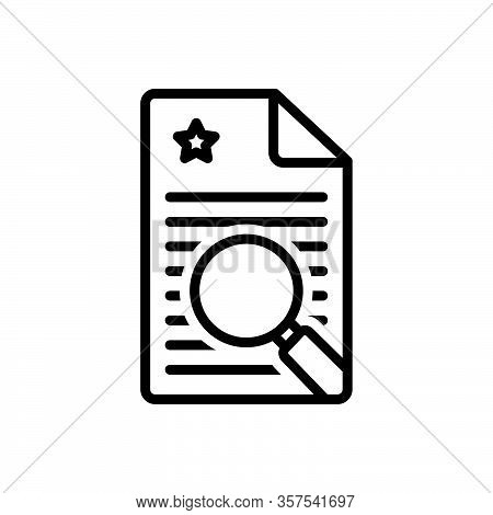 Black Line Icon For Finding Search Quest Find Discovery Magnifier Document