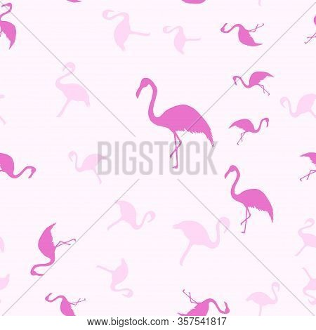 Flamingos Isolated On A Pink Background. Exotic Bird. Flamingo Silhouette, Vector Illustration. Pink