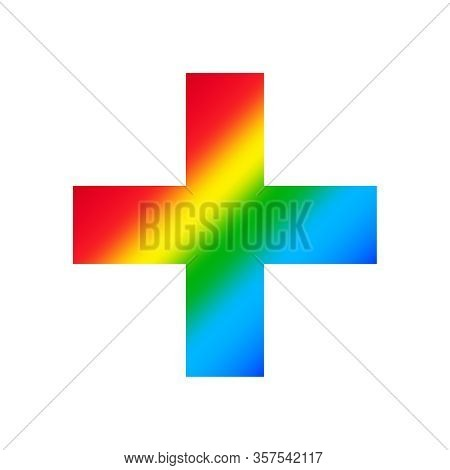 Plus Sign Isolated On White Background, Clip Art Addition Or Plus Rainbow Colorful, Illustration Fla