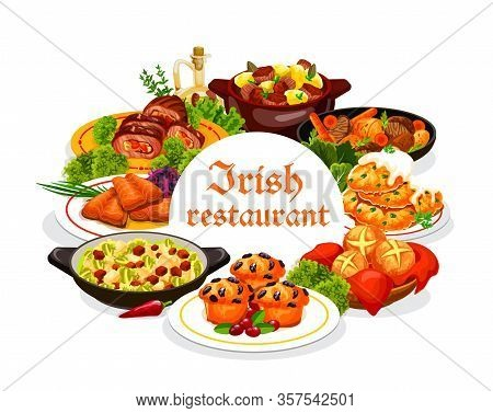Irish Restaurant Food With Vector Dishes Of Vegetable, Meat And Fish With Dessert. Irish Stews With