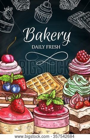 Cake Desserts And Pastry Food Chalk Sketches On Blackboard. Vector Chocolate Cake, Cupcake And Muffi