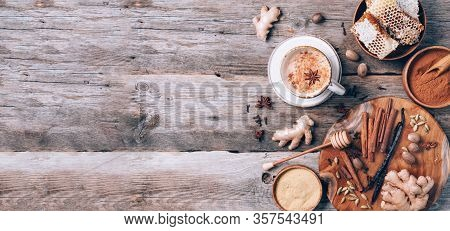 Tea With Milk, Cloves, Ginger, Cardamom, Cinnamon, Anise, Vanile, Honey, Nutmeg. Indian Masala Tea W