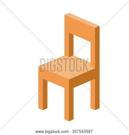 Wooden Chair Isolated On White Background, Isometric Wood Chair For Icon 3d Simple, Clip Art Small C
