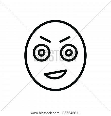 Black Line Icon For Emoji Stare Gaze Ogle Gloat Look-fixedly Look Observe