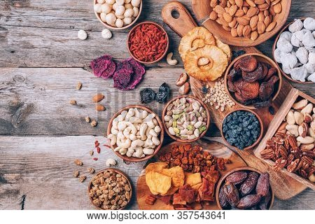 Assortment Of Nuts And Dried Fruits - Brazil Nuts, Cashew, Pecan, Almonds, Macadamia, Pine Nuts, Haz