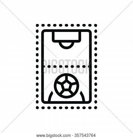 Black Line Icon For Ground Pitch Football Goal Game Stadium Playground
