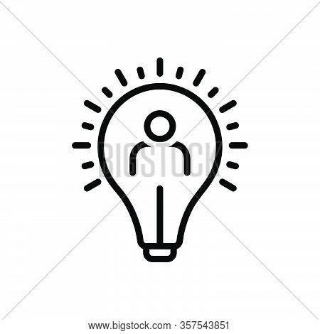 Black Line Icon For Initiative Impulsion Self-motivation Resourcefulness Capability Inventiveness