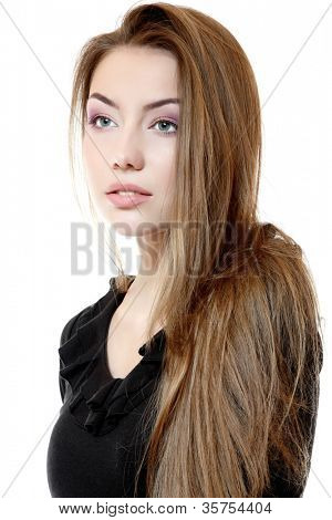 Portrait of beautiful delightful teeny girl with long fair hair. Isolated on white background
